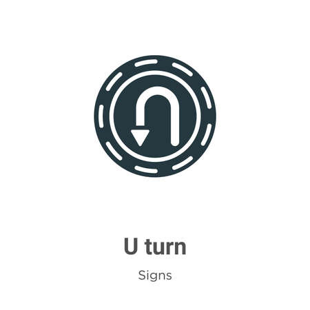 U turn glyph icon vector on white background. Flat vector u turn icon symbol sign from modern signs collection for mobile concept and web apps design.