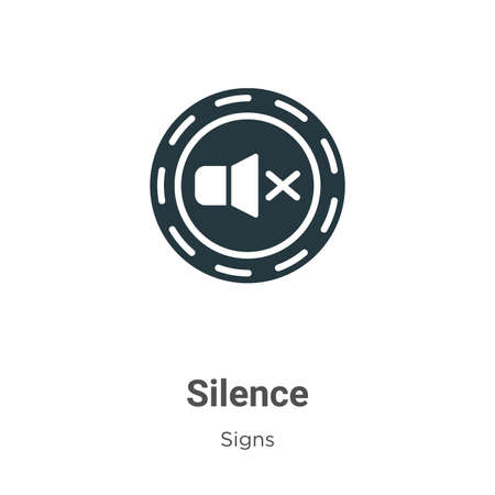 Silence glyph icon vector on white background. Flat vector silence icon symbol sign from modern signs collection for mobile concept and web apps design.