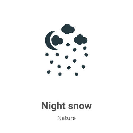 Night snow glyph icon vector on white background. Flat vector night snow icon symbol sign from modern nature collection for mobile concept and web apps design. Çizim