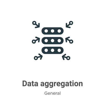 Data aggregation glyph icon vector on white background. Flat vector data aggregation icon symbol sign from modern general collection for mobile concept and web apps design.