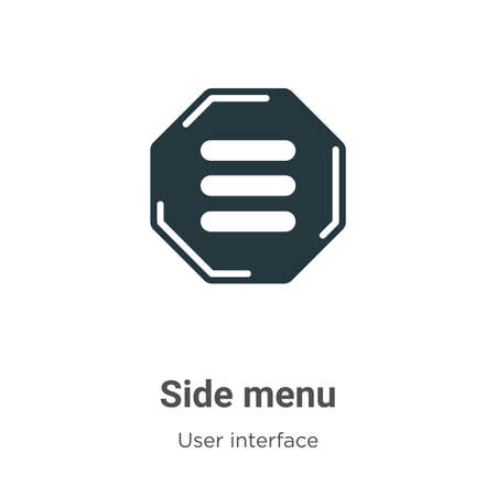 Side menu glyph icon vector on white background. Flat vector side menu icon symbol sign from modern user interface collection for mobile concept and web apps design.