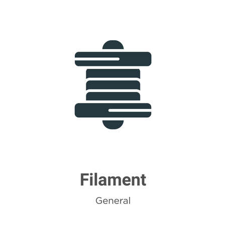 Filament glyph icon vector on white background. Flat vector filament icon symbol sign from modern general collection for mobile concept and web apps design.