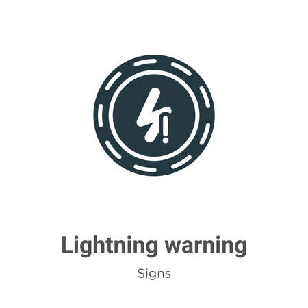 Lightning warning glyph icon vector on white background. Flat vector lightning warning icon symbol sign from modern signs collection for mobile concept and web apps design.