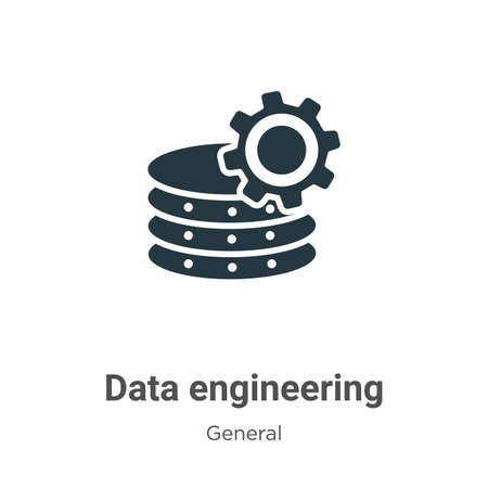 Data engineering glyph icon vector on white background. Flat vector data engineering icon symbol sign from modern general collection for mobile concept and web apps design.