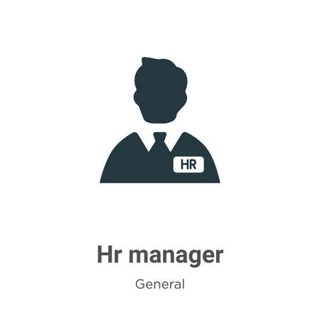 Hr manager glyph icon vector on white background. Flat vector hr manager icon symbol sign from modern general collection for mobile concept and web apps design. Ilustración de vector