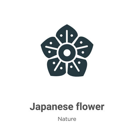 Japanese flower glyph icon vector on white background. Flat vector japanese flower icon symbol sign from modern nature collection for mobile concept and web apps design.