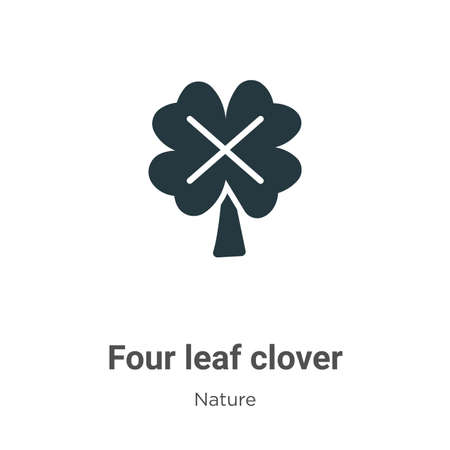 Four leaf clover glyph icon vector on white background. Flat vector four leaf clover icon symbol sign from modern nature collection for mobile concept and web apps design. Ilustração