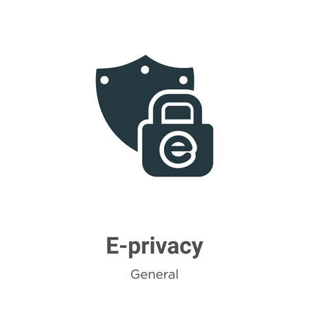 E-privacy glyph icon vector on white background. Flat vector e-privacy icon symbol sign from modern general collection for mobile concept and web apps design. Ilustração