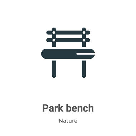 Park bench glyph icon vector on white background. Flat vector park bench icon symbol sign from modern nature collection for mobile concept and web apps design. Ilustração