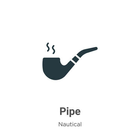 Pipe glyph icon vector on white background. Flat vector pipe icon symbol sign from modern nautical collection for mobile concept and web apps design.