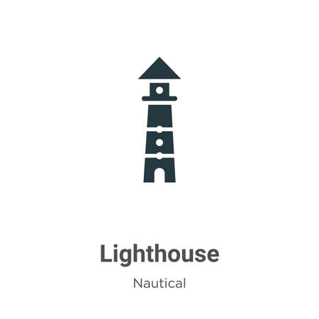Lighthouse glyph icon vector on white background. Flat vector lighthouse icon symbol sign from modern nautical collection for mobile concept and web apps design.