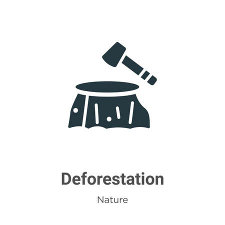 Deforestation glyph icon vector on white background. Flat vector deforestation icon symbol sign from modern nature collection for mobile concept and web apps design. Ilustração