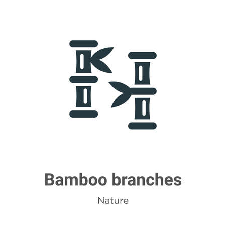 Bamboo branches glyph icon vector on white background. Flat vector bamboo branches icon symbol sign from modern nature collection for mobile concept and web apps design. Ilustração