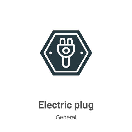 Electric plug glyph icon vector on white background. Flat vector electric plug icon symbol sign from modern general collection for mobile concept and web apps design.