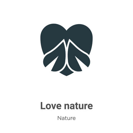 Love nature glyph icon vector on white background. Flat vector love nature icon symbol sign from modern nature collection for mobile concept and web apps design. Ilustração