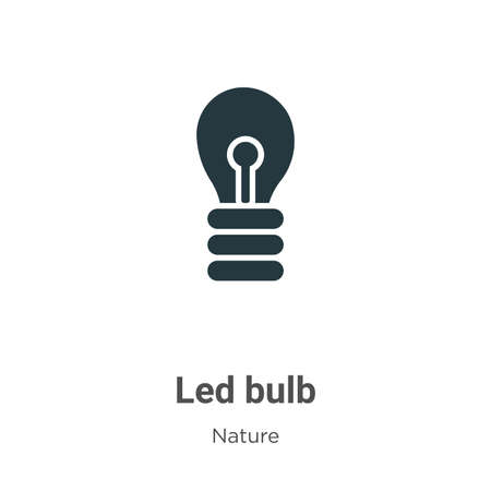 Led bulb glyph icon vector on white background. Flat vector led bulb icon symbol sign from modern nature collection for mobile concept and web apps design. Ilustração