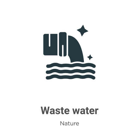 Waste water glyph icon vector on white background. Flat vector waste water icon symbol sign from modern nature collection for mobile concept and web apps design. Ilustração