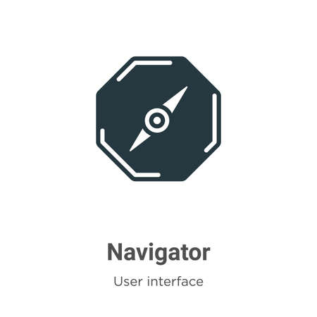 Navigator glyph icon vector on white background. Flat vector navigator icon symbol sign from modern user interface collection for mobile concept and web apps design. Ilustração