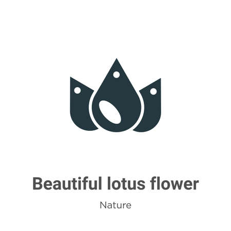 Beautiful lotus flower glyph icon vector on white background. Flat vector beautiful lotus flower icon symbol sign from modern nature collection for mobile concept and web apps design. Ilustração