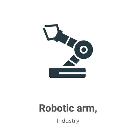 Robotic arm, glyph icon vector on white background. Flat vector robotic arm, icon symbol sign from modern industry collection for mobile concept and web apps design.