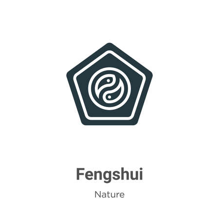 Fengshui glyph icon vector on white background. Flat vector fengshui icon symbol sign from modern nature collection for mobile concept and web apps design. Ilustração