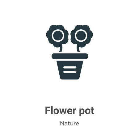 Flower pot glyph icon vector on white background. Flat vector flower pot icon symbol sign from modern nature collection for mobile concept and web apps design.