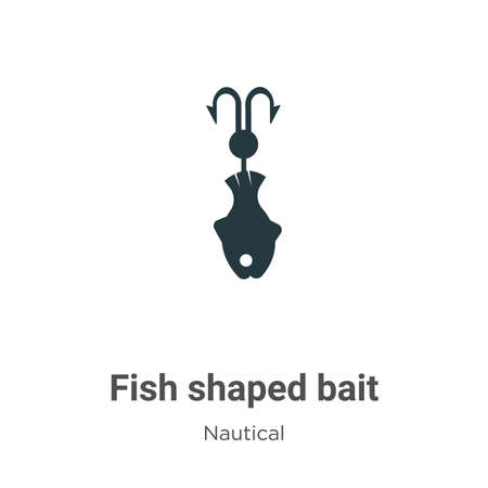 Fish shaped bait glyph icon vector on white background. Flat vector fish shaped bait icon symbol sign from modern nautical collection for mobile concept and web apps design. Ilustração