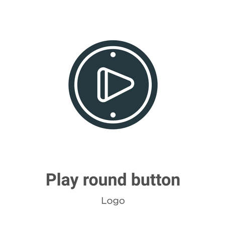 Play round button glyph icon vector on white background. Flat vector play round button icon symbol sign from modern logo collection for mobile concept and web apps design.