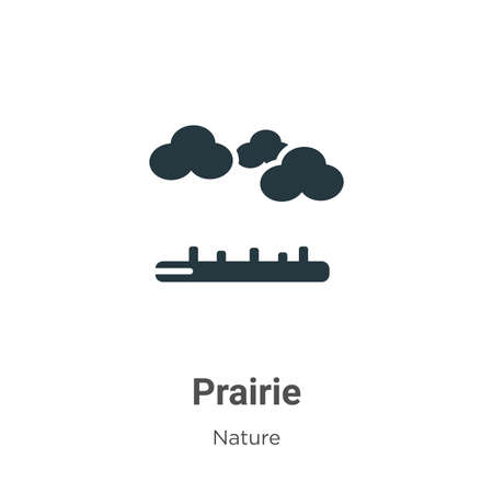 Prairie glyph icon vector on white background. Flat vector prairie icon symbol sign from modern nature collection for mobile concept and web apps design. Ilustração
