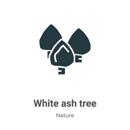 White ash tree glyph icon vector on white background. Flat vector white ash tree icon symbol sign from modern nature collection for mobile concept and web apps design. Ilustração