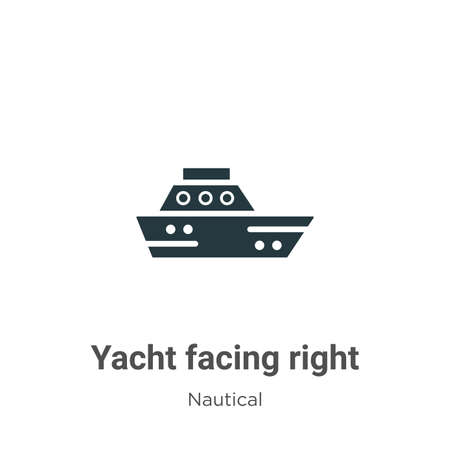 Yacht facing right glyph icon vector on white background. Flat vector yacht facing right icon symbol sign from modern nautical collection for mobile concept and web apps design. Ilustração