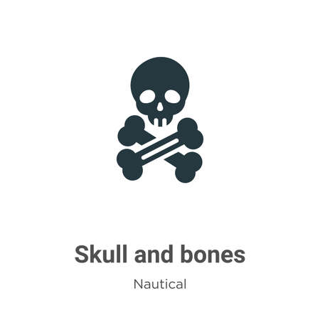 Skull and bones glyph icon vector on white background. Flat vector skull and bones icon symbol sign from modern nautical collection for mobile concept and web apps design.