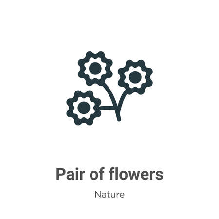 Pair of flowers glyph icon vector on white background. Flat vector pair of flowers icon symbol sign from modern nature collection for mobile concept and web apps design.