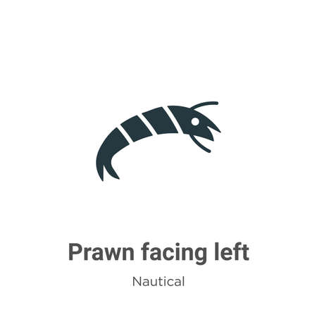 Prawn facing left glyph icon vector on white background. Flat vector prawn facing left icon symbol sign from modern nautical collection for mobile concept and web apps design.
