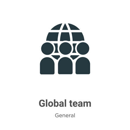Global team glyph icon vector on white background. Flat vector global team icon symbol sign from modern general collection for mobile concept and web apps design.