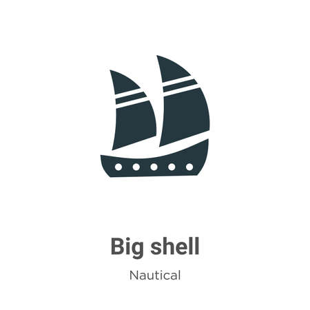 Big shell glyph icon vector on white background. Flat vector big shell icon symbol sign from modern nautical collection for mobile concept and web apps design. Ilustração