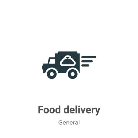 Food delivery glyph icon vector on white background. Flat vector food delivery icon symbol sign from modern general collection for mobile concept and web apps design. Ilustração