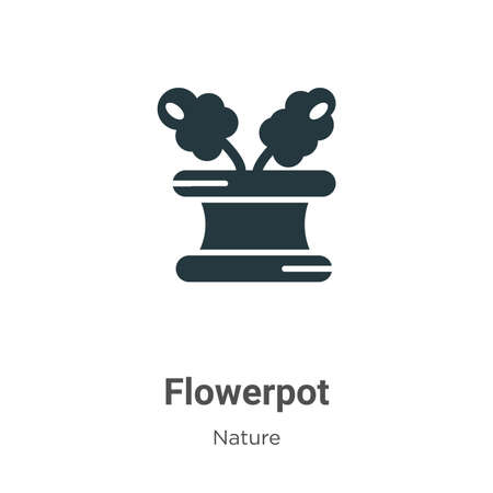 Flowerpot glyph icon vector on white background. Flat vector flowerpot icon symbol sign from modern nature collection for mobile concept and web apps design.