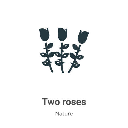 Two roses glyph icon vector on white background. Flat vector two roses icon symbol sign from modern nature collection for mobile concept and web apps design.