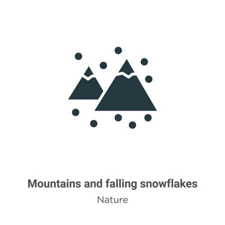 Mountains and falling snowflakes glyph icon vector on white background. Flat vector mountains and falling snowflakes icon symbol sign from modern nature collection for mobile concept and web apps Ilustração