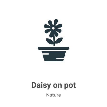 Daisy on pot glyph icon vector on white background. Flat vector daisy on pot icon symbol sign from modern nature collection for mobile concept and web apps design. Ilustração