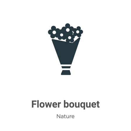 Flower bouquet glyph icon vector on white background. Flat vector flower bouquet icon symbol sign from modern nature collection for mobile concept and web apps design.