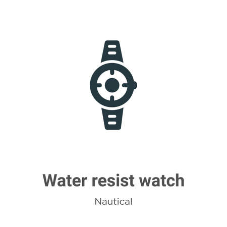 Water resist watch glyph icon vector on white background. Flat vector water resist watch icon symbol sign from modern nautical collection for mobile concept and web apps design. Ilustração