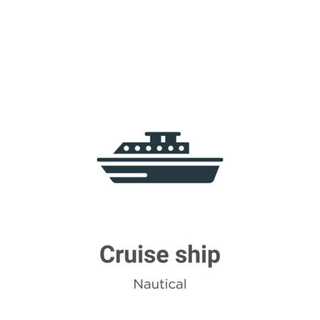 Cruise ship glyph icon vector on white background. Flat vector cruise ship icon symbol sign from modern nautical collection for mobile concept and web apps design.