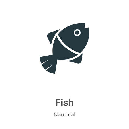 Fish glyph icon vector on white background. Flat vector fish icon symbol sign from modern nautical collection for mobile concept and web apps design. Ilustração