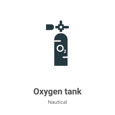 Oxygen tank glyph icon vector on white background. Flat vector oxygen tank icon symbol sign from modern nautical collection for mobile concept and web apps design.