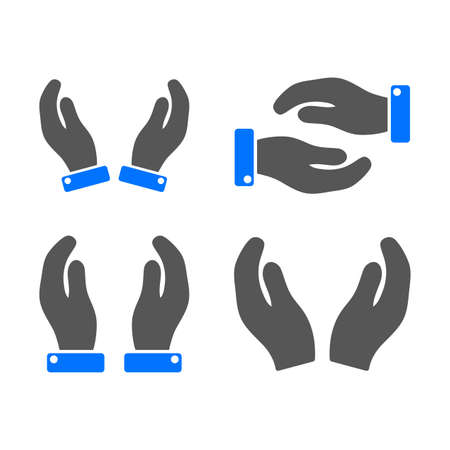 Care Hands vector illustration set. a flat illustration iconic design.