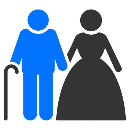 Grandparents Couple flat vector illustration. An isolated icon on a white background.