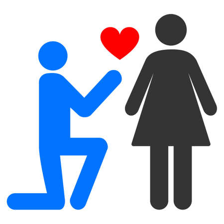 Engagement Persons flat vector pictograph. An isolated icon on a white background. Ilustrace