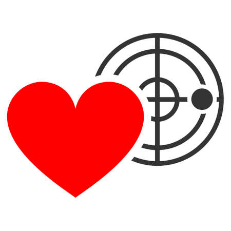 Love Heart Radar flat vector pictograph. An isolated icon on a white background. Illustration
